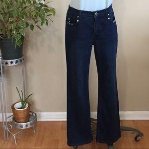 Simon Chang bootleg dark wash embellished jeans